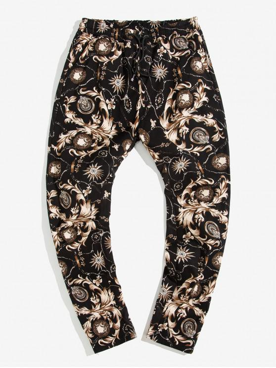 online Baroque Printed Drawstring Casual Pants - BEIGE L