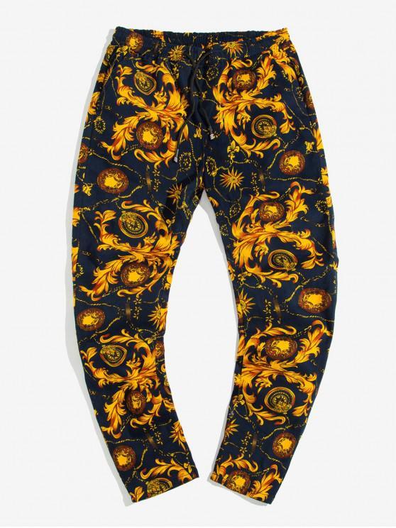 women Baroque Printed Drawstring Casual Pants - BEE YELLOW L