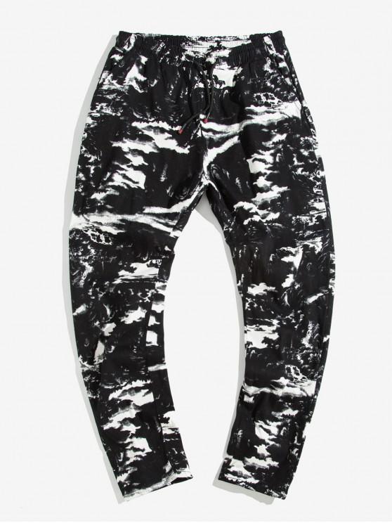 affordable Painting Printed Elastic Waist Casual Pants - BLACK XL