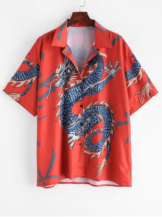 latest Dragon Print Button Up Longline Shirt - RED ONE SIZE