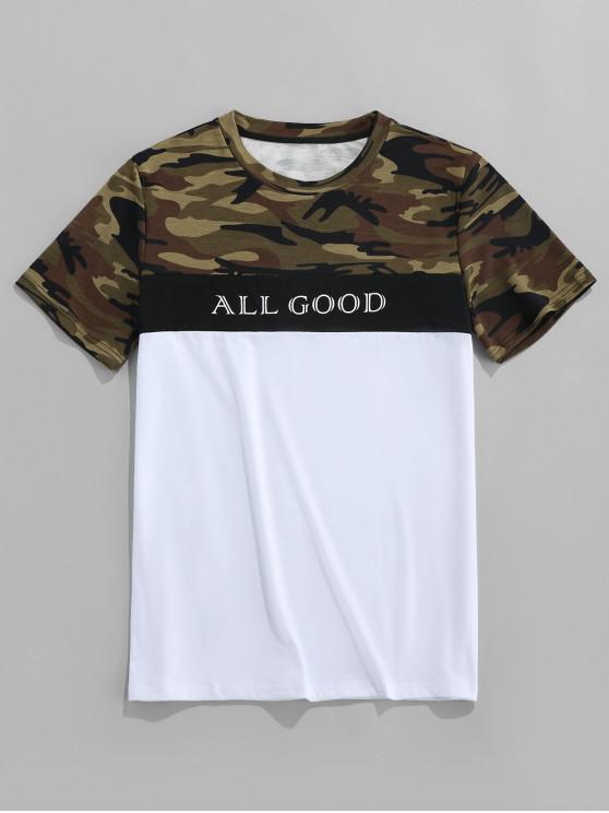 sale ZAFUL Letter Camo Print Short Sleeves T-shirt - MULTI S