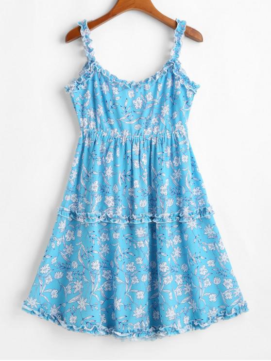 fancy ZAFUL Lettuce Trim Tie Back Floral Mini Dress - TRON BLUE M