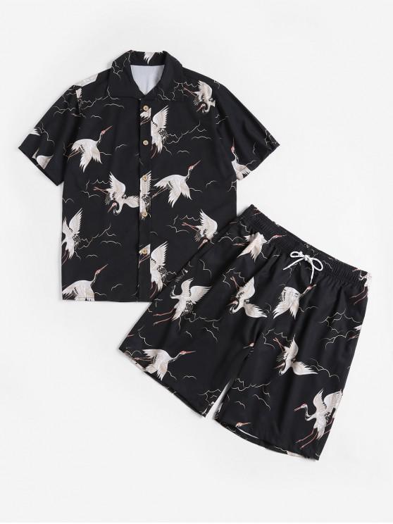 online Flying Bird Print Shirt and Shorts - BLACK 3XL
