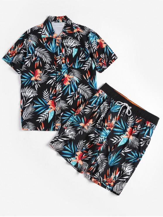 outfit Floral Leaf Print Shirt and Shorts - BLACK 3XL