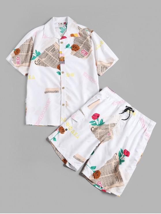 trendy Letter Floral Print Shirt and Shorts - WHITE 3XL