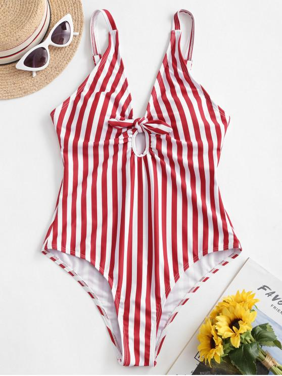 trendy ZAFUL Striped Knot Plunge One-piece Swimsuit - RED S