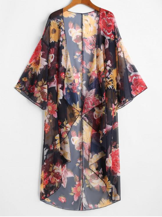 fashion Floral Draped Front Cover-up Top - BLACK ONE SIZE