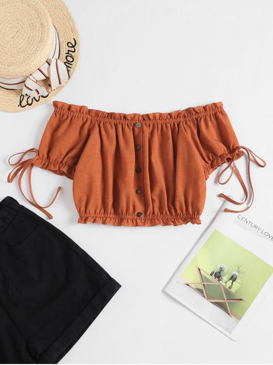 women's ZAFUL Off Shoulder Ruffle Mock Button Crop Blouse - RUST XL