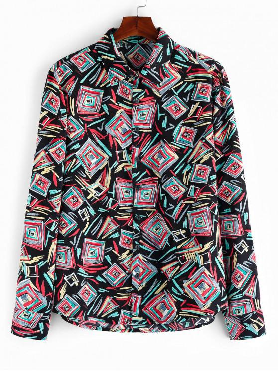ZAFUL Colorful Geometric Print Button Up Shirt - متعددة-A S