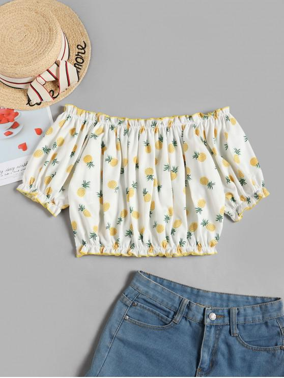 women ZAFUL Off Shoulder Cropped Pineapple Blouse - WHITE L