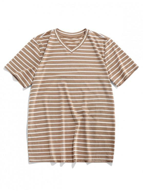 latest ZAFUL Striped Printed Leisure Short Sleeves T-shirt - CAMEL BROWN 2XL