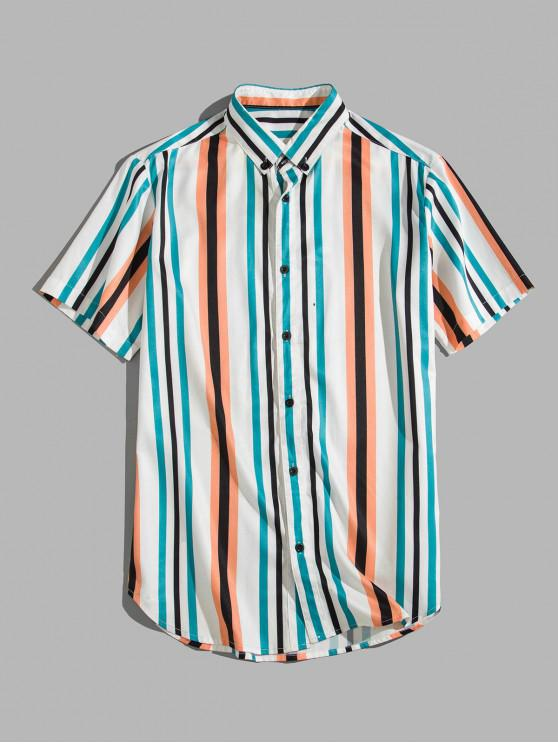 Buntes Gestreiftes Bedrucktes Hemd mit Kurzen Ärmeln - Multi-A 2XL