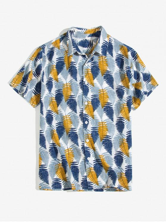 new Leaf Printed Button Short Sleeves Shirt - BLUE GRAY XL