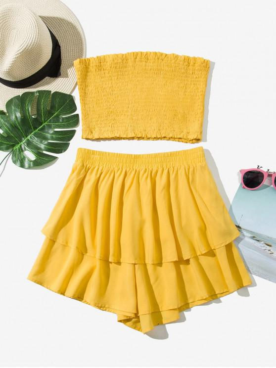 online ZAFUL Smocked Bandeau Top And Layered Shorts Set - SUN YELLOW XL