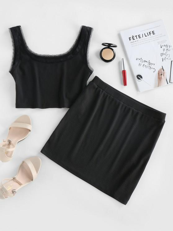 sale ZAFUL Crop Top and Mini Bodycon Skirt Co Ord Set - BLACK S