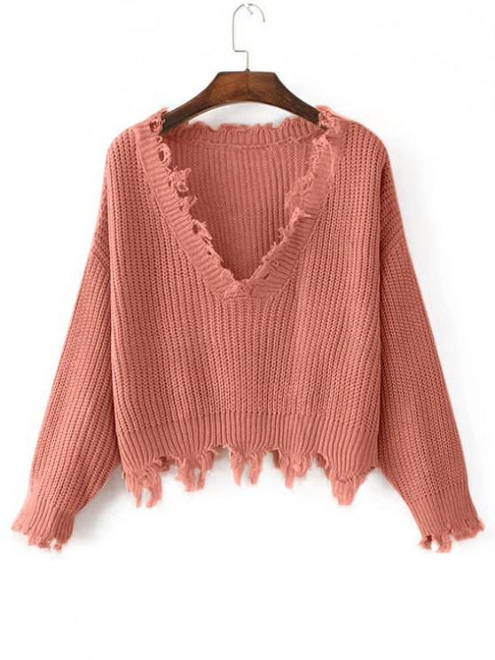 shop Loose Ripped V Neck Sweater - ORANGEPINK ONE SIZE