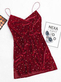 Vestido De Terciopelo Con Cuello En V Con Abertura Lateral - Rojo S