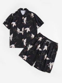 Flying Bird Print Shirt And Shorts - Black 3xl