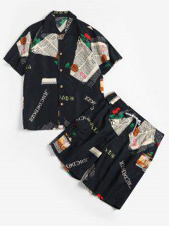 Letter Floral Print Shirt And Shorts - Black M