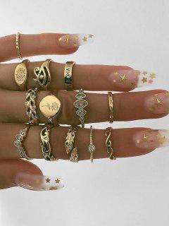 13Pcs Round Shape Rhinestone Finger Rings Set - Gold