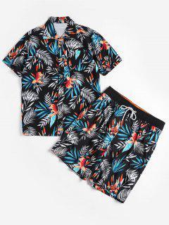 Floral Leaf Print Shirt And Shorts - Black M