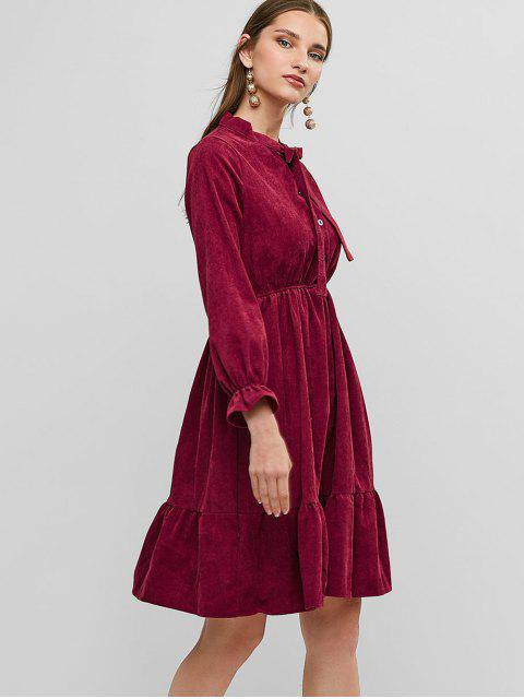 fashion Pussy Bow Flounce Corduroy Dress - RED WINE S Mobile