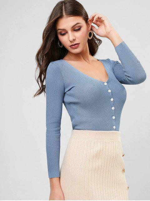 women V Neck Ribbed Slim Single Breasted Cardigan - BLUE ONE SIZE Mobile