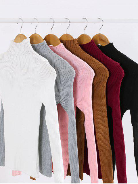chic Pullover Mock Neck Plain Slim Sweater - RED WINE ONE SIZE Mobile