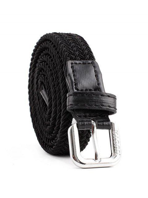 Плетеный Эластичный Пояс С пряжкой Холст - Чёрный  Mobile
