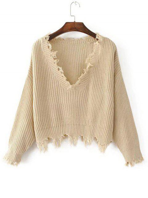 shop Loose Ripped V Neck Sweater - KHAKI ONE SIZE Mobile