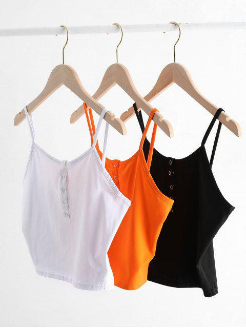 ladies Cropped Snap Button Tank Top - BLACK S Mobile