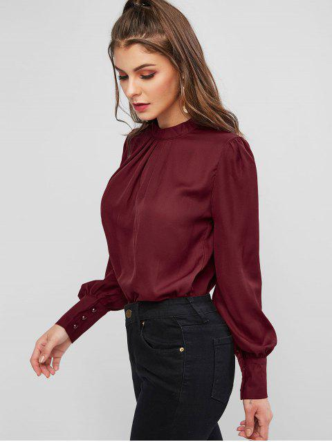 ladies Keyhole Back Curved Pleated Work Blouse - RED WINE L Mobile