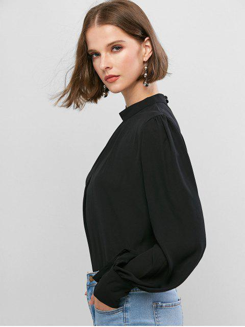 shop Keyhole Back Curved Pleated Work Blouse - BLACK M Mobile