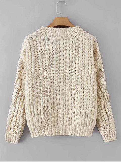 Suéter hombro cuello en V de punto grueso gota - Beige Talla única Mobile