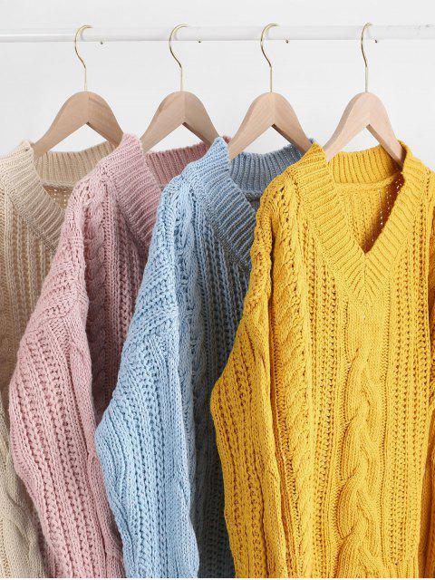 Suéter hombro cuello en V de punto grueso gota - Amarillo Talla única Mobile