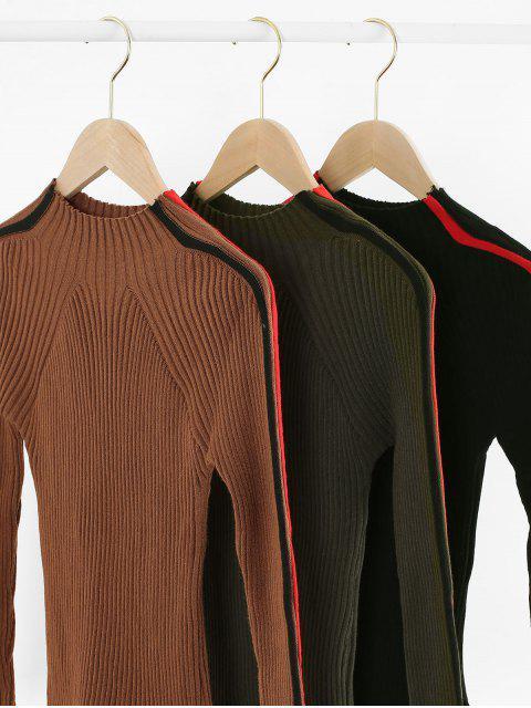 Jersey Acanalado de Cuello Alto con Bloqueo de Color - Caramelo Talla única Mobile