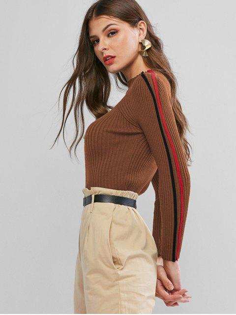 online Ribbed Side Colorblock Mock Neck Sweater - CARAMEL ONE SIZE Mobile