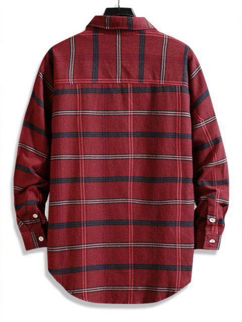 Camicia Lunga a Quadretti con Bottoni e Orlo Alto-Basso - Rosso XL Mobile