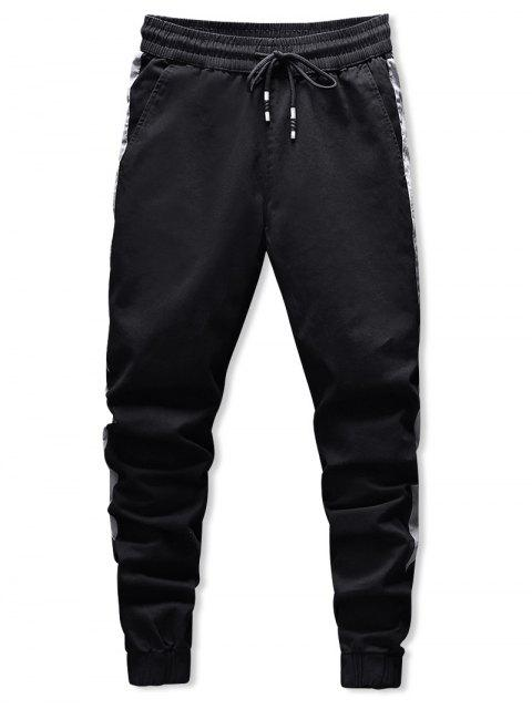 best Contrast Trim Drawstring Jogger Pants - BLACK L Mobile