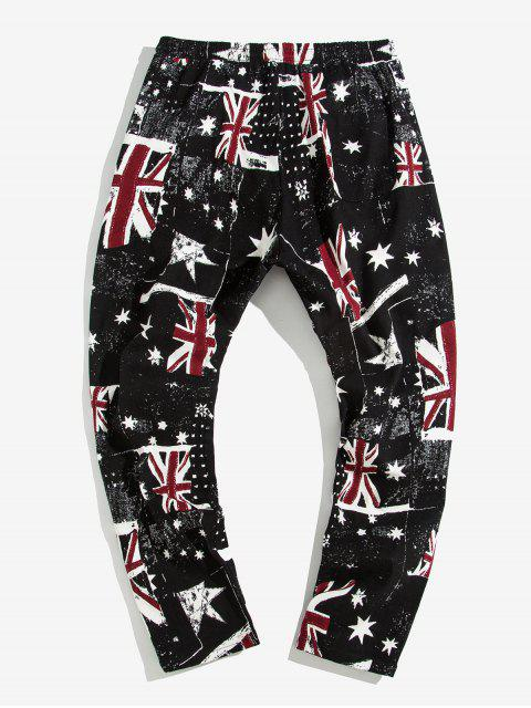 best England Flag Star Printed Casual Pants - BLACK L Mobile