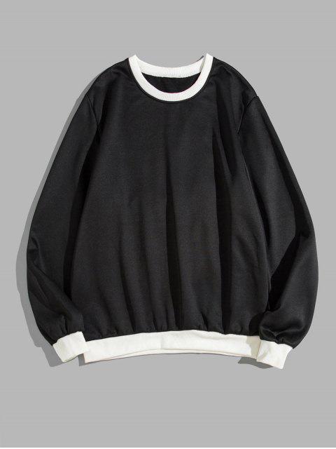 色彩拼接圓領運動衫 - 黑色 S Mobile