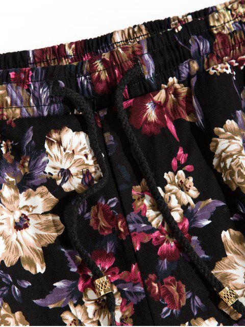trendy Flower Printed Drawstring Casual Pants - MULTI-A S Mobile