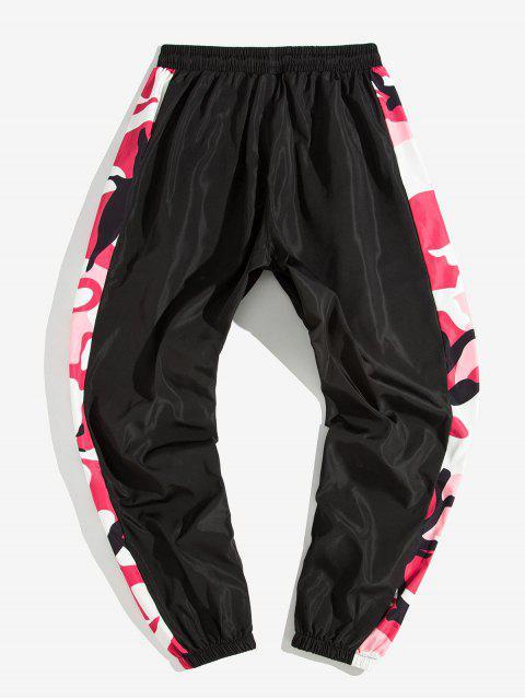 lady Camo Printed Spliced Jogger Pants - BLACK S Mobile