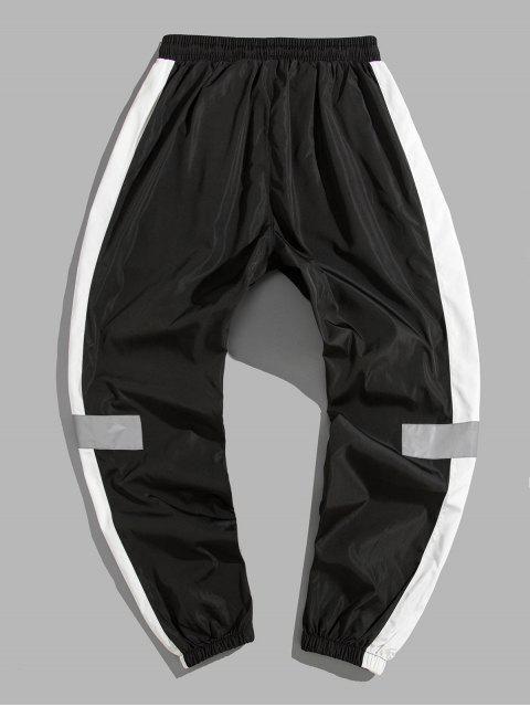 色彩拼接裝飾休閒褲 - 黑色 M Mobile