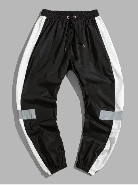 色彩拼接裝飾休閒褲 - 黑色 S Mobile