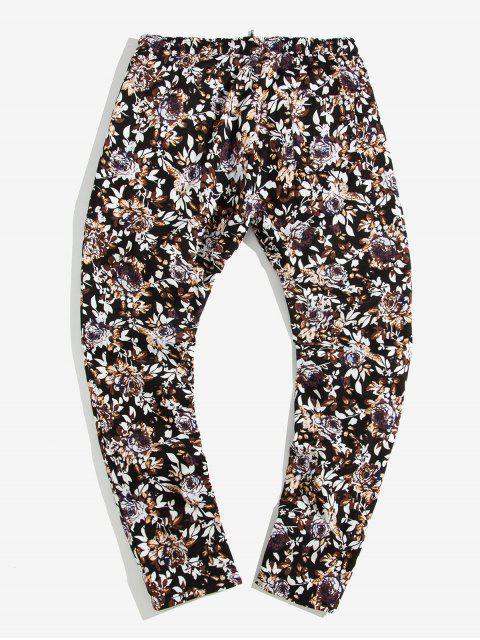 unique Flower Print Drawstring Casual Pants - MULTI-A L Mobile