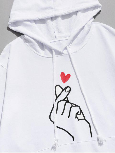 手指心臟圖形囊袋狀休閒連帽衫 - 白色 M Mobile
