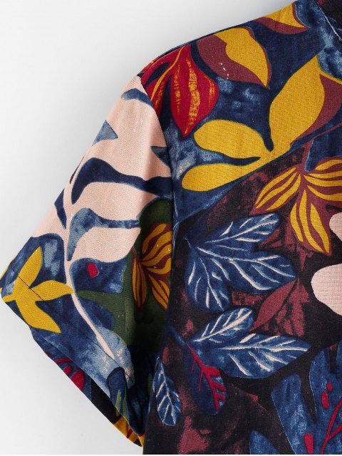 Camisa de Manga Corta con Estampado de Hojas - Multicolor 3XL Mobile