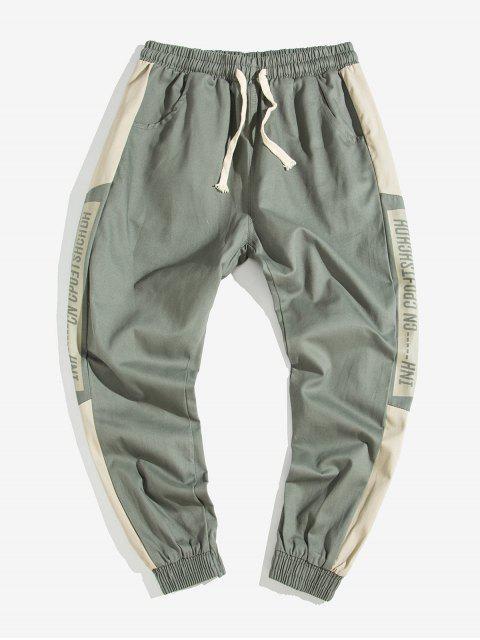 Pantalones Jogger de Estampado de Letras y de Color Bloque - Ejército Marrón XS Mobile