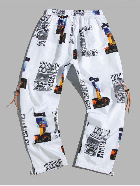 Pantalones Casuales de Impresión Gráfica de Letra - Blanco L Mobile